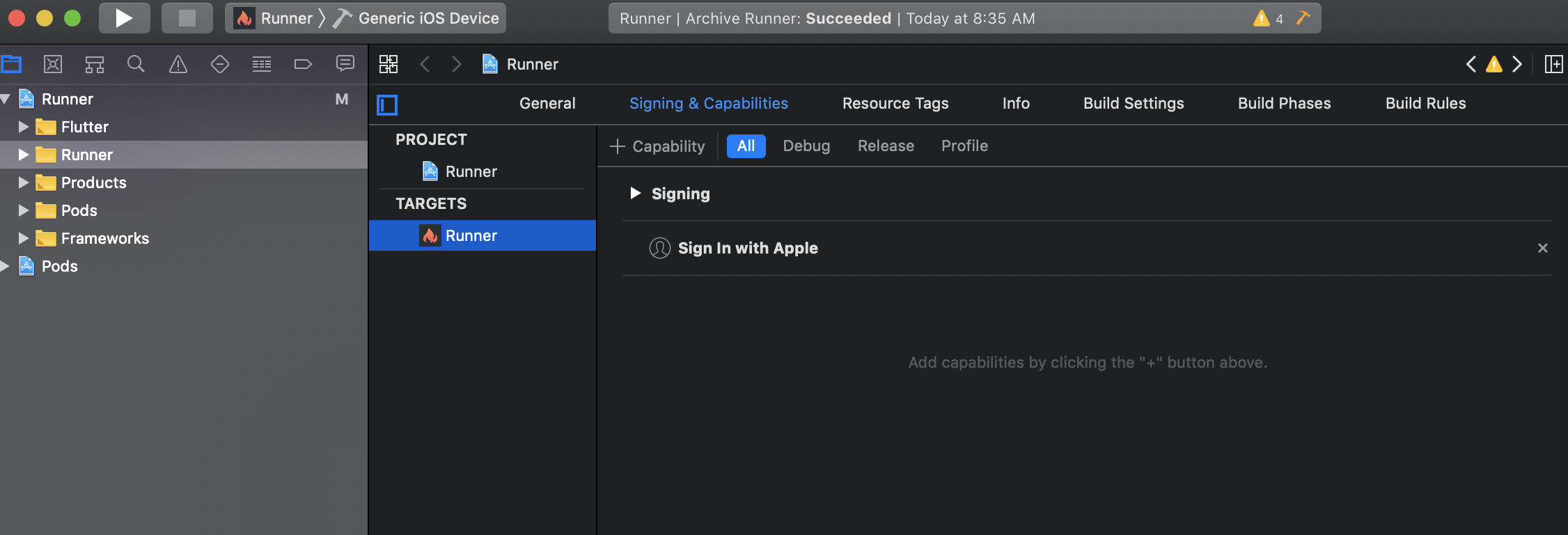 Add the Sign In with Apple Capability in Xcode