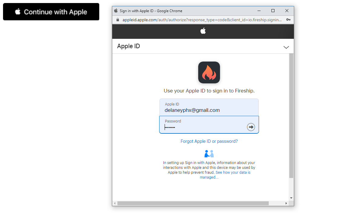 SignIn with Apple popup seen by the end-user
