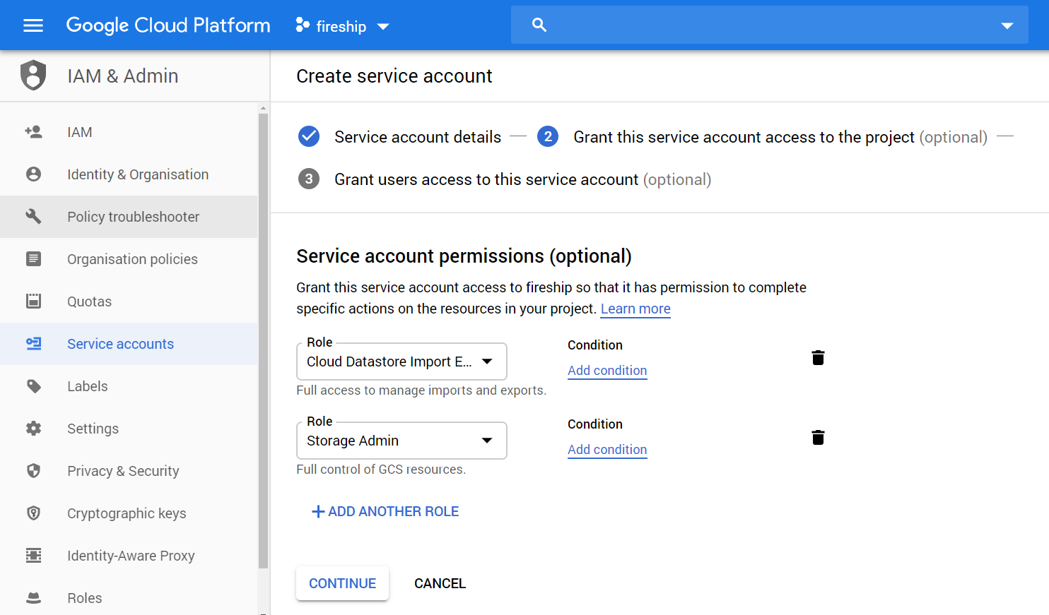 Create a service account that has the Cloud Datastore Import Export Admin & Storage Admin permissions
