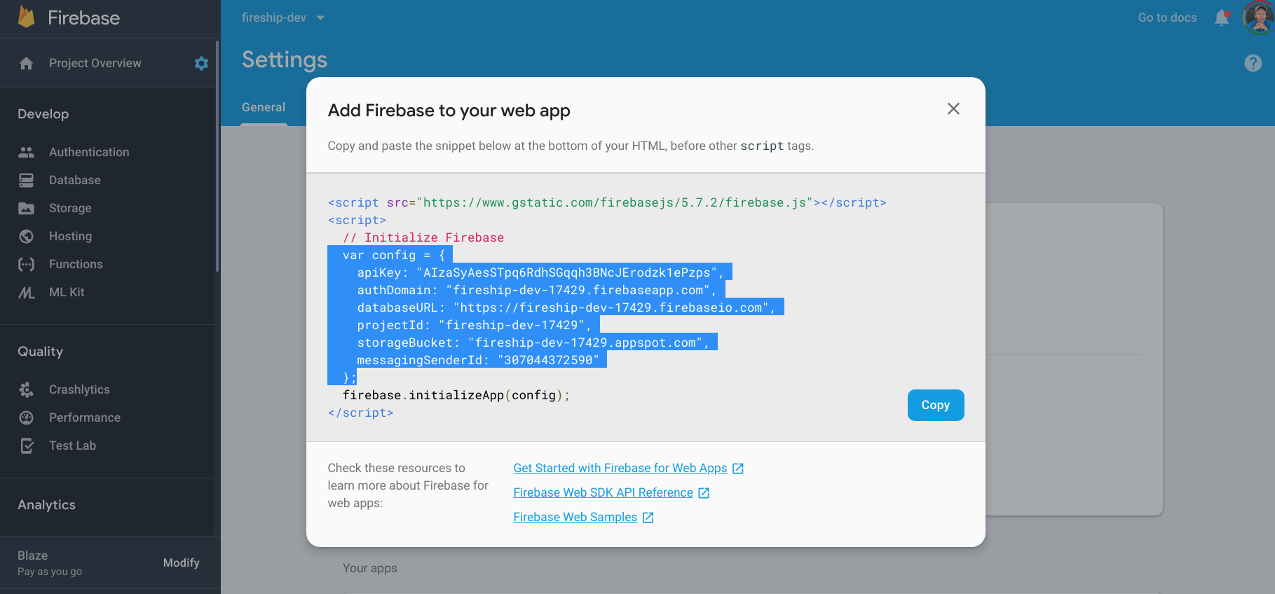 firebase web config location