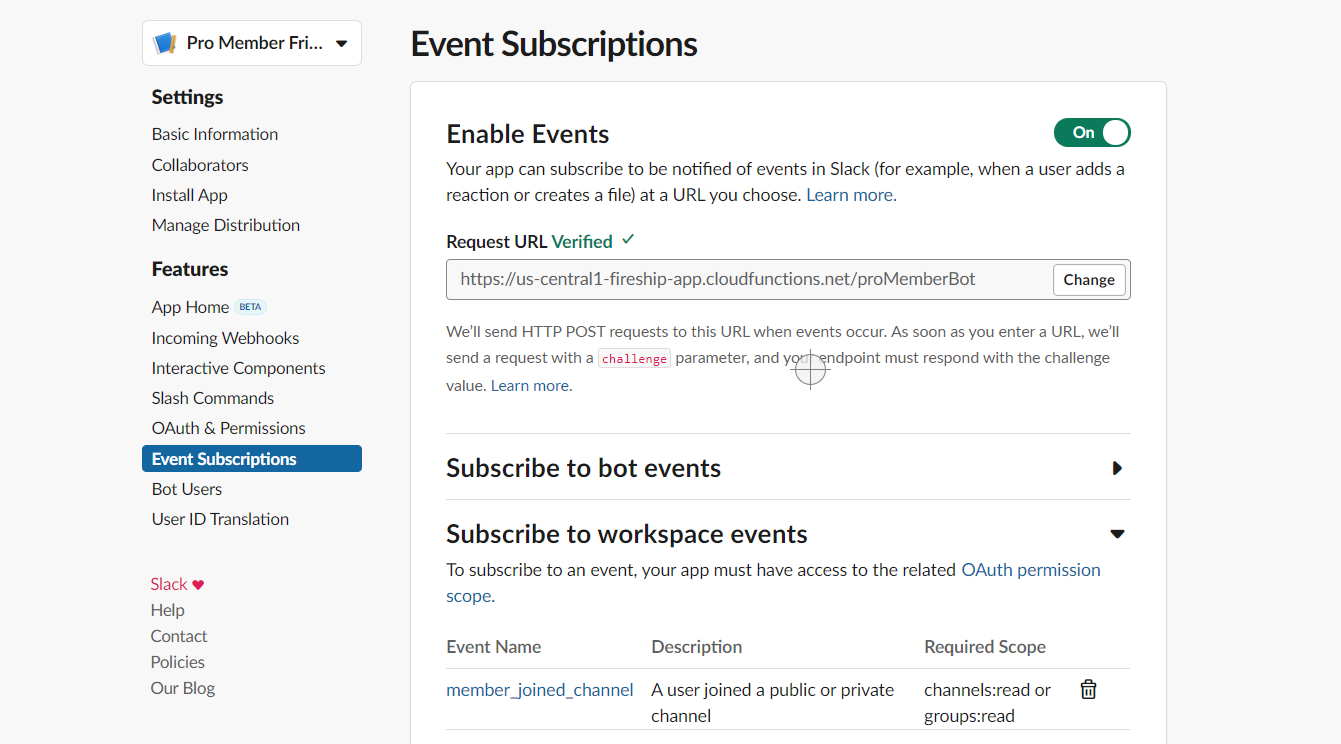 Subscribe to the member_joined_channel event. Notice how our URL is now verified.