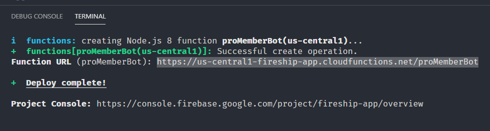 Copy the Function URL from the terminal output