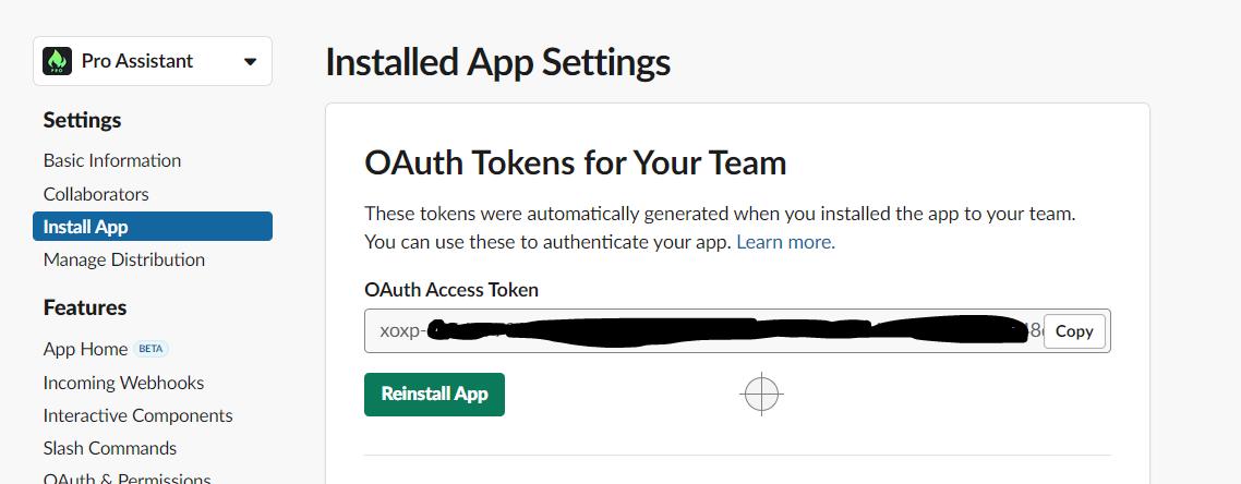 Copy the OAuth Token